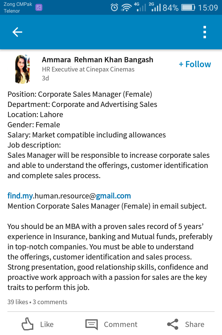 Sales Manager Female :