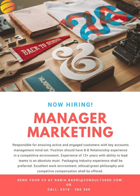 Manager Marketing (360 Degree Consulting)!