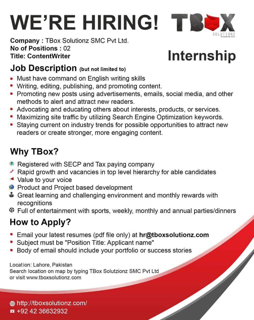 Content Writer Required!